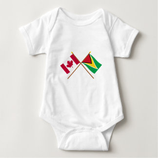 Canada and Guyana Crossed Flags Baby Bodysuit