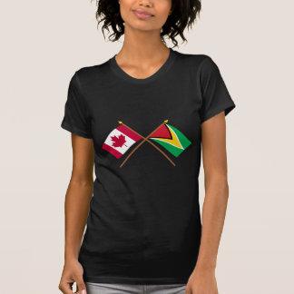 Canada and Guyana Crossed Flags Tee Shirt