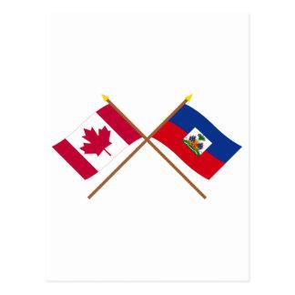 Canada and Haiti Crossed Flags Postcard