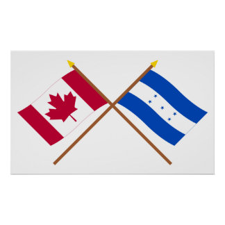 Canada and Honduras Crossed Flags Posters