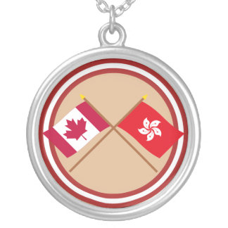 Canada and Hong Kong Crossed Flags Round Pendant Necklace