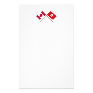 Canada and Hong Kong Crossed Flags Stationery Design