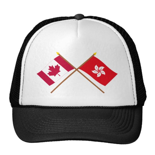 Canada and Hong Kong Crossed Flags Trucker Hat