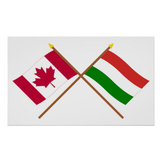 Canada and Hungary Crossed Flags Print