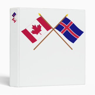 Canada and Iceland Crossed Flags 3 Ring Binder