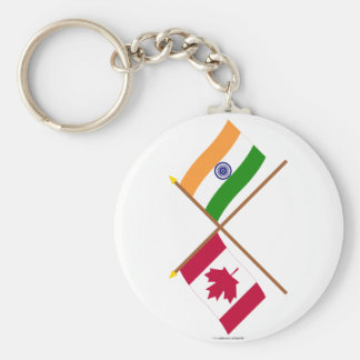 Canada and India Crossed Flags Basic Round Button Keychain