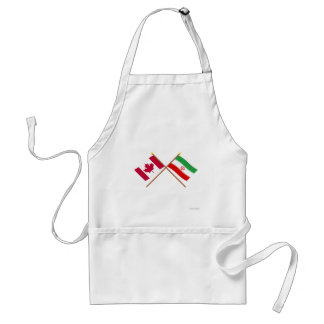 Canada and Iran Crossed Flags Aprons