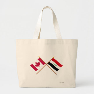 Canada and Iraq Crossed Flags Jumbo Tote Bag