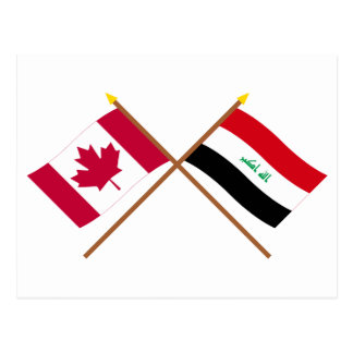 Canada and Iraq Crossed Flags Postcard