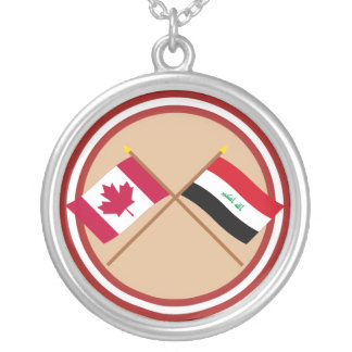 Canada and Iraq Crossed Flags Silver Plated Necklace