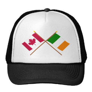 Canada and Ireland Crossed Flags Mesh Hat
