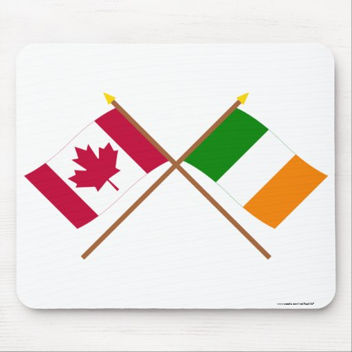 Canada and Ireland Crossed Flags Mouse Pad