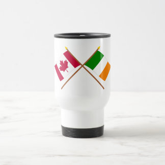Canada and Ireland Crossed Flags 15 Oz Stainless Steel Travel Mug