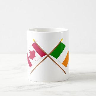 Canada and Ireland Crossed Flags Classic White Coffee Mug