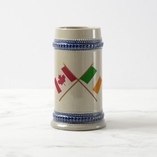 Canada and Ireland Crossed Flags 18 Oz Beer Stein