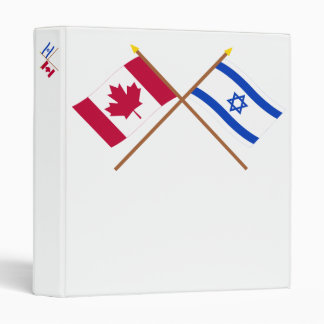 Canada and Israel Crossed Flags 3 Ring Binder