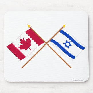 Canada and Israel Crossed Flags Mouse Pad