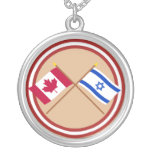 Canada and Israel Crossed Flags Necklace