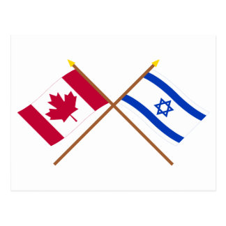 Canada and Israel Crossed Flags Postcard