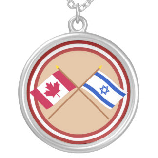 Canada and Israel Crossed Flags Round Pendant Necklace
