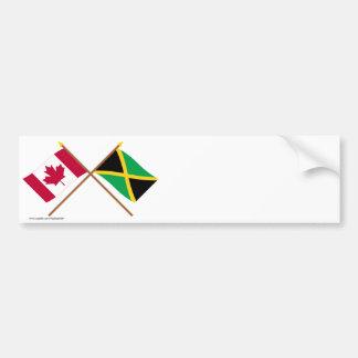 Canada and Jamaica Crossed Flags Bumper Sticker