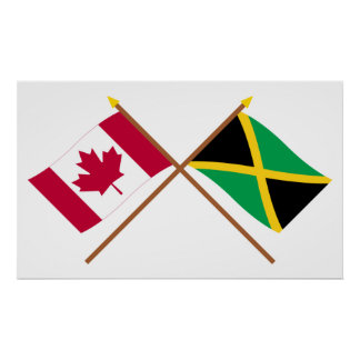 Canada and Jamaica Crossed Flags Poster
