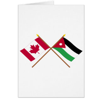 Canada and Jordan Crossed Flags Card