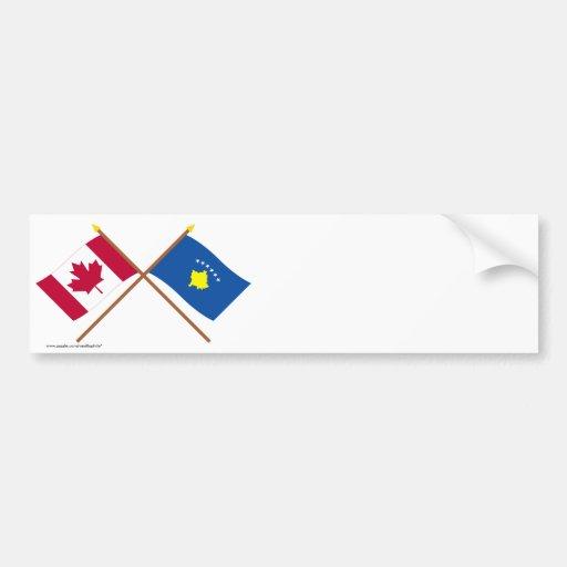 Canada and Kosovo Crossed Flags Bumper Stickers