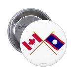 Canada and Laos Crossed Flags 2 Inch Round Button