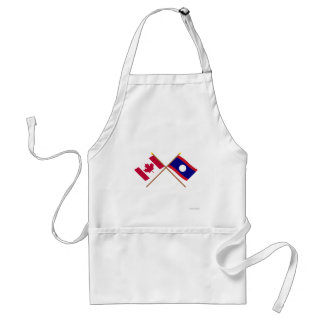 Canada and Laos Crossed Flags Adult Apron
