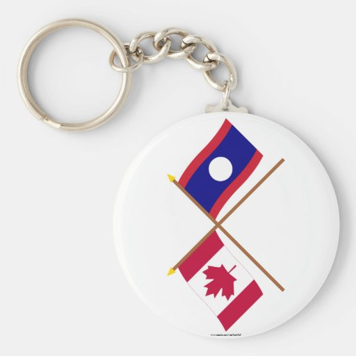 Canada and Laos Crossed Flags Keychains