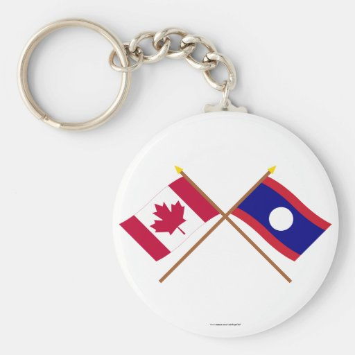 Canada and Laos Crossed Flags Key Chain
