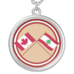 Canada and Lebanon Crossed Flags Necklace