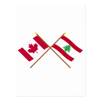 Canada and Lebanon Crossed Flags Postcard
