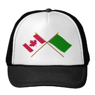 Canada and Libya Crossed Flags Trucker Hat