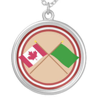 Canada and Libya Crossed Flags Round Pendant Necklace