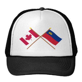 Canada and Liechtenstein Crossed Flags Mesh Hats