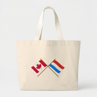 Canada and Luxembourg Crossed Flags Jumbo Tote Bag