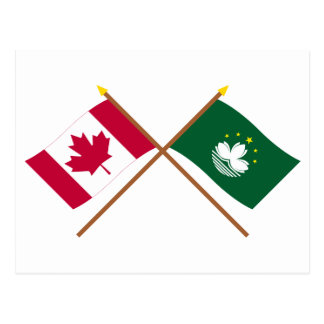 Canada and Macau Crossed Flags Post Cards