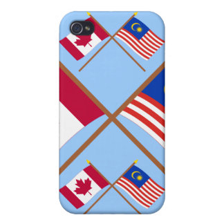 Canada and Malaysia Crossed Flags iPhone 4 Case