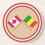 Canada and Mali Crossed Flags Drink Coaster