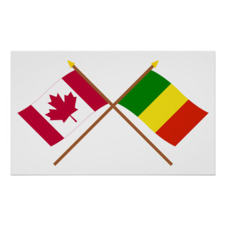 Canada and Mali Crossed Flags Poster
