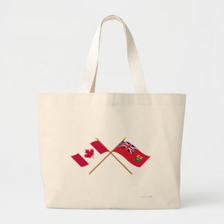 Canada and Manitoba Crossed Flags Jumbo Tote Bag