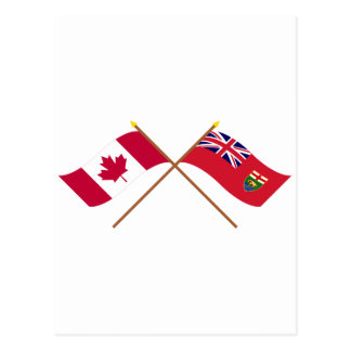 Canada and Manitoba Crossed Flags Postcard