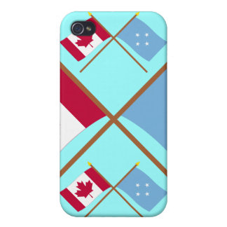 Canada and Micronesia Crossed Flags iPhone 4/4S Cases