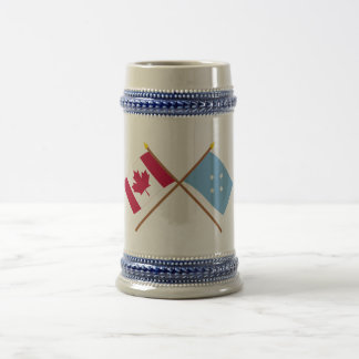 Canada and Micronesia Crossed Flags 18 Oz Beer Stein