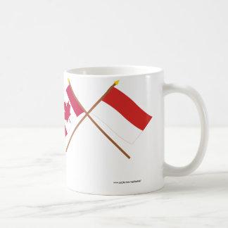 Canada and Monaco Crossed Flags Coffee Mug