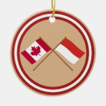 Canada and Monaco Crossed Flags Christmas Tree Ornaments