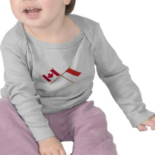 Canada and Monaco Crossed Flags Tee Shirt