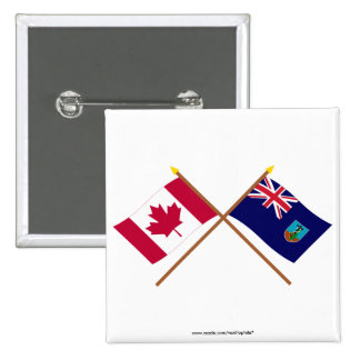 Canada and Montserrat Crossed Flags 2 Inch Square Button
